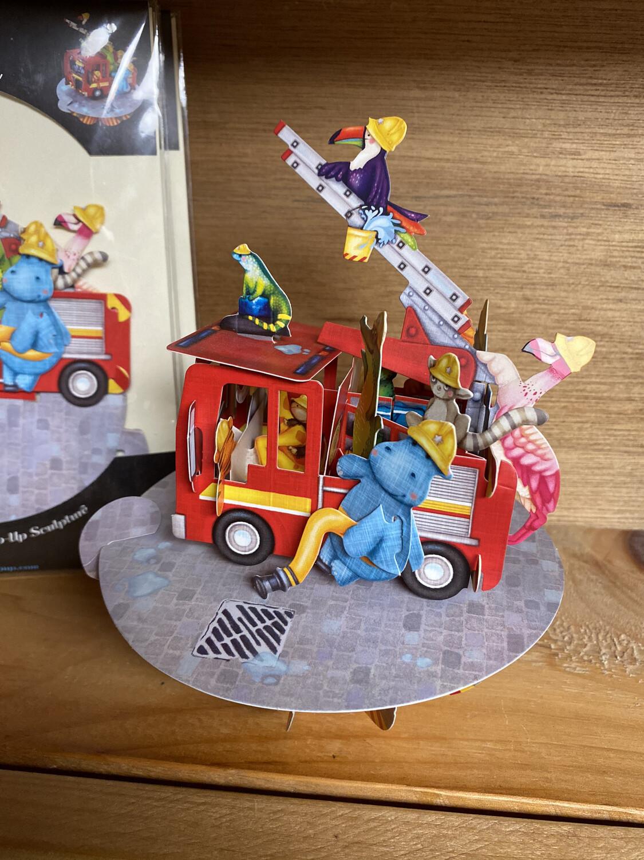 Fire Truck Zoo 3-D Card