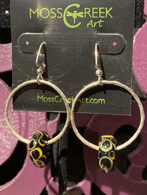Moss Creek Glass Hand Made Bead Yellow Circles Sterling Silver #Y2