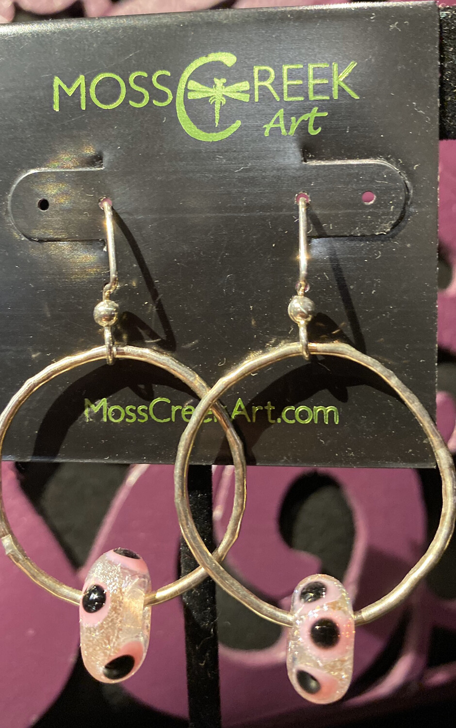 Moss Creek Hand Made Sterling Silver Hoop Pink Circles #Y2