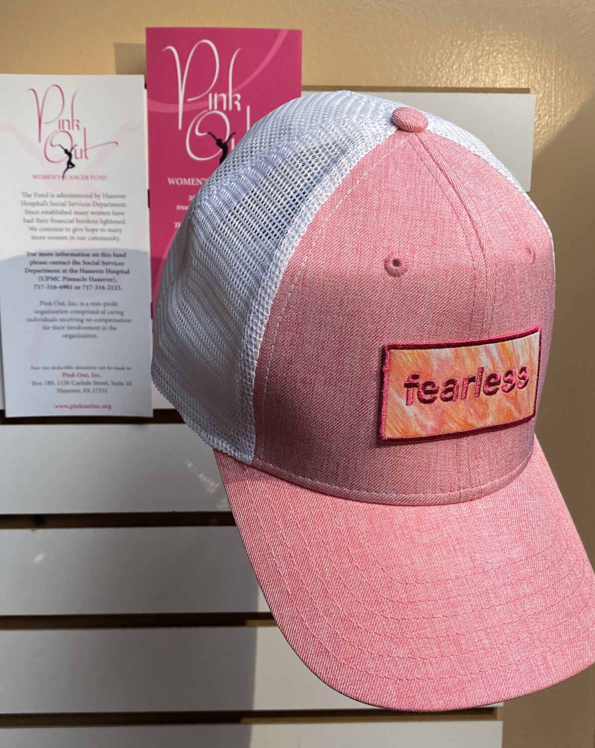 Fearless Trucker Hat Pink 20% Donated To Pink Out