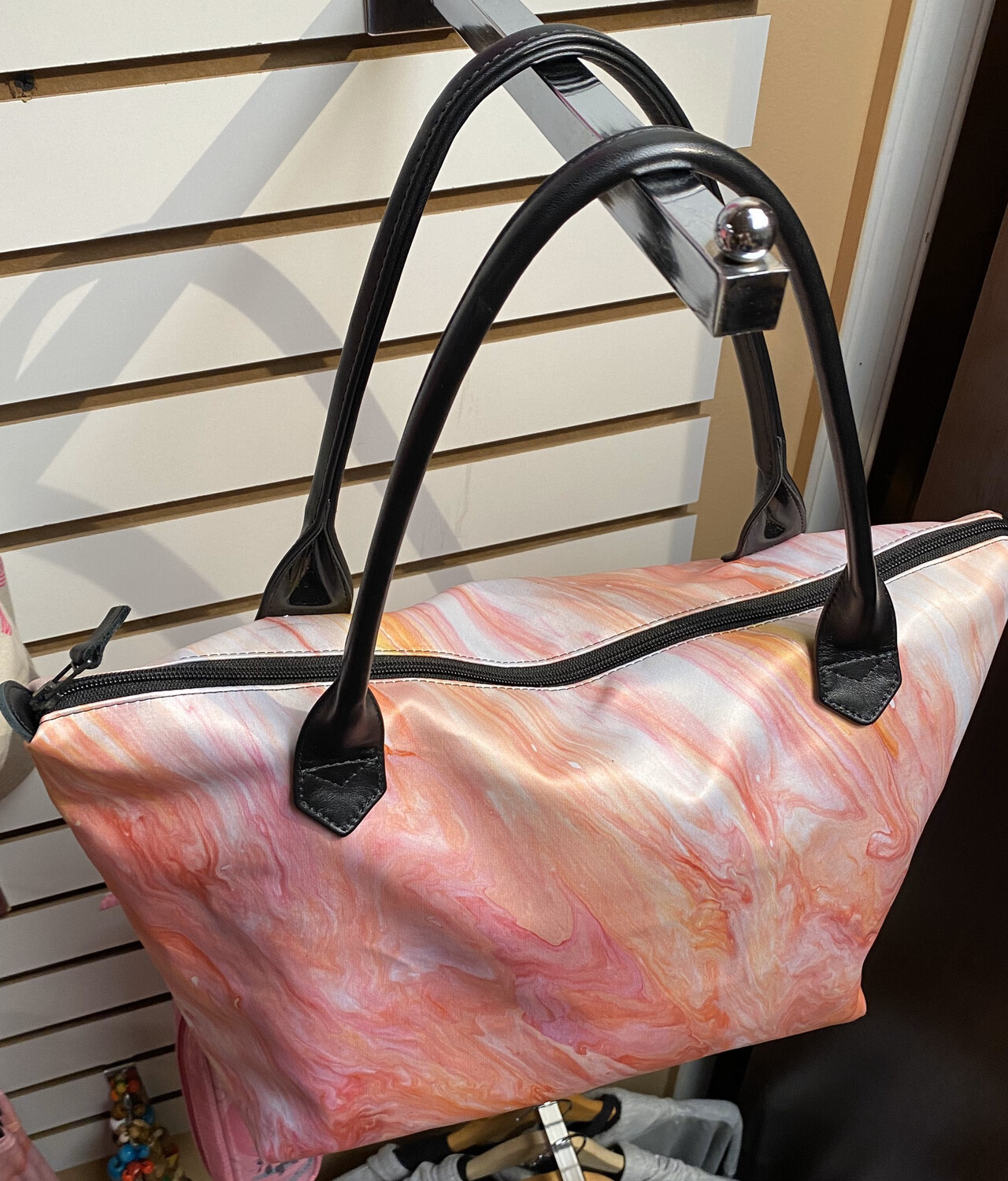 Fearless Silk Tote Leather Handles 20% Donated To Pink Out