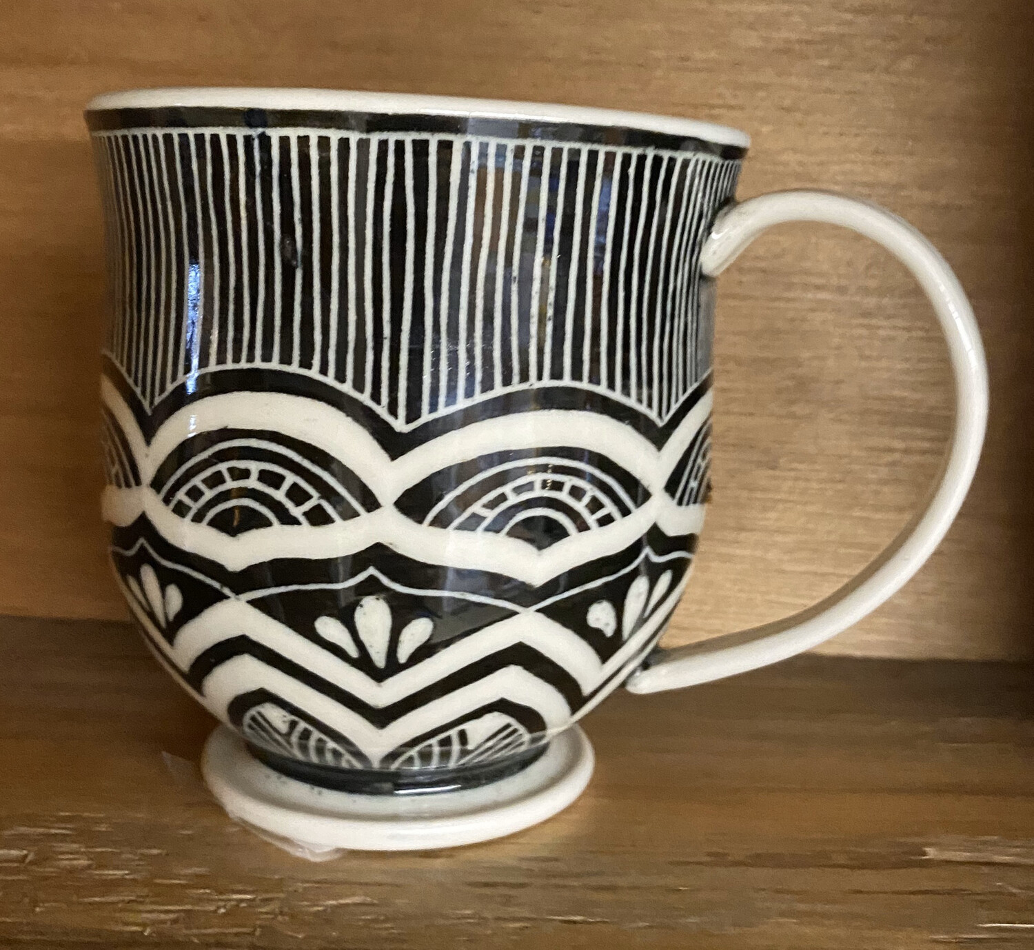 Sgraffito Hand Made Ceramic Mug. Made In Philadelphia
