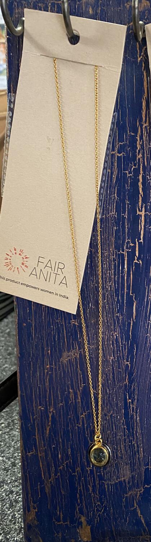 Fair Circle Green Crystal Gold Necklace