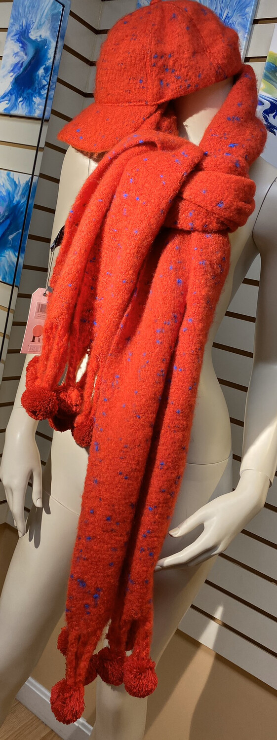 Large Soft Comfy Scarf Red w Little Blue Dots. Has A Baseball Style Cap.