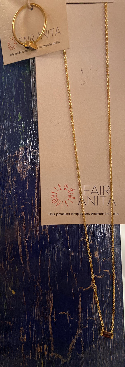 Fair Red Garnet Gold Wash Necklace Has A Matching Ring.
