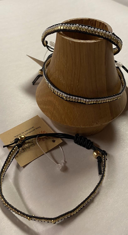 Fair Adjustable Wht,Blk,gold Woven Bracelet