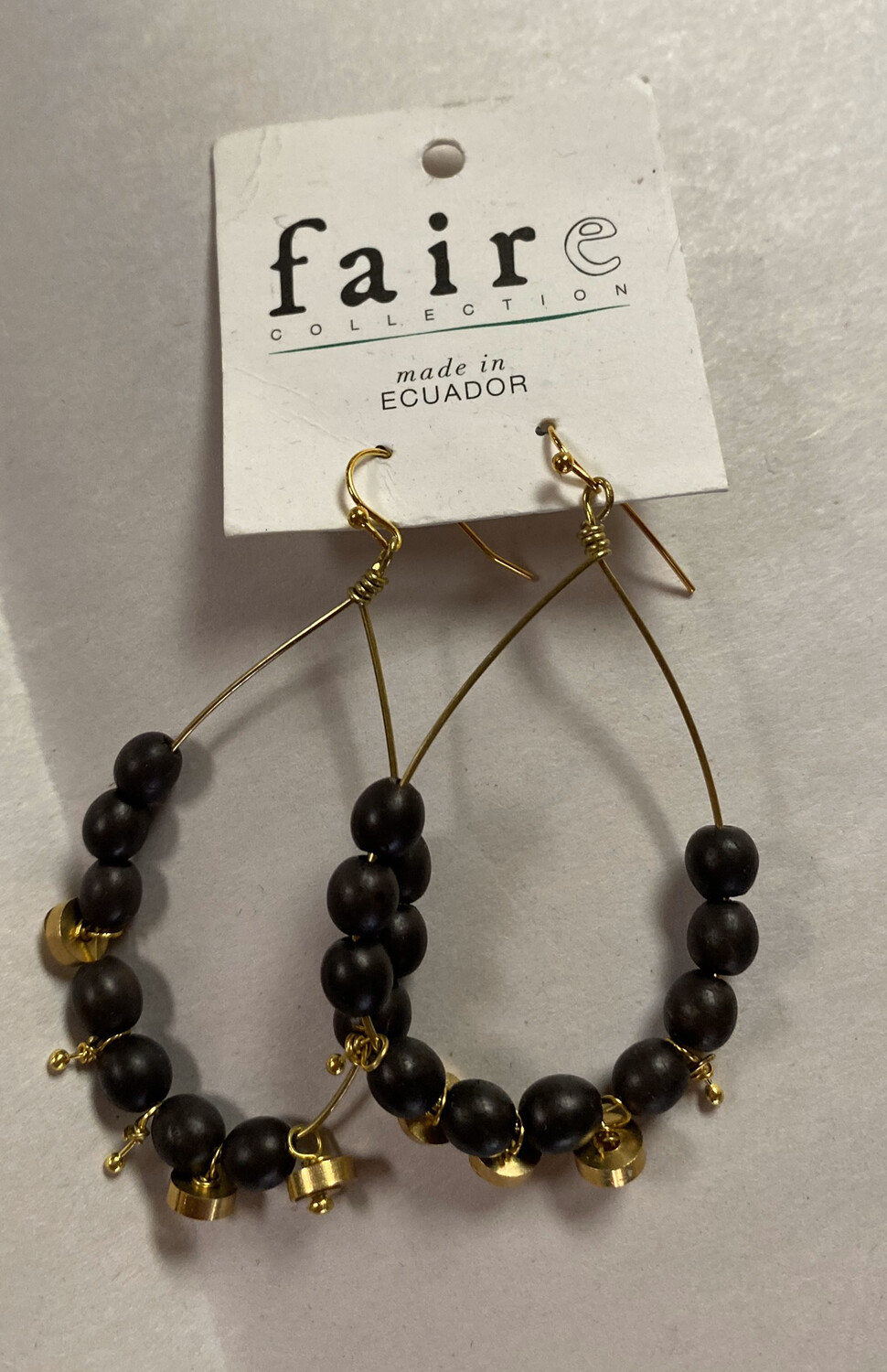 Fair Black And Gold Drop Hoop Earrings