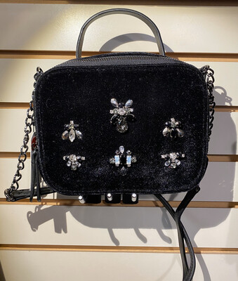 Black Velvet Square Bag Handle W Crossbody Strap. Crystal Bugs