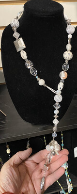 DK Black & White Pull Through Necklace. Boho Beads, Glass. Putter A D Clear Quartz Locally Made.