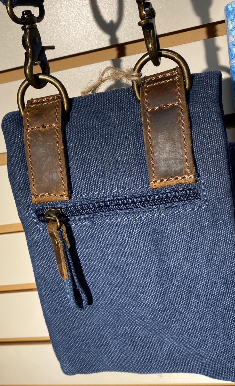 Denim Blue Cross Body Leather Trim Many Pockets