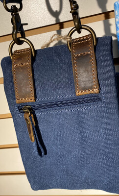 Denim Blue Cross Body Leather Trim Many Pockets