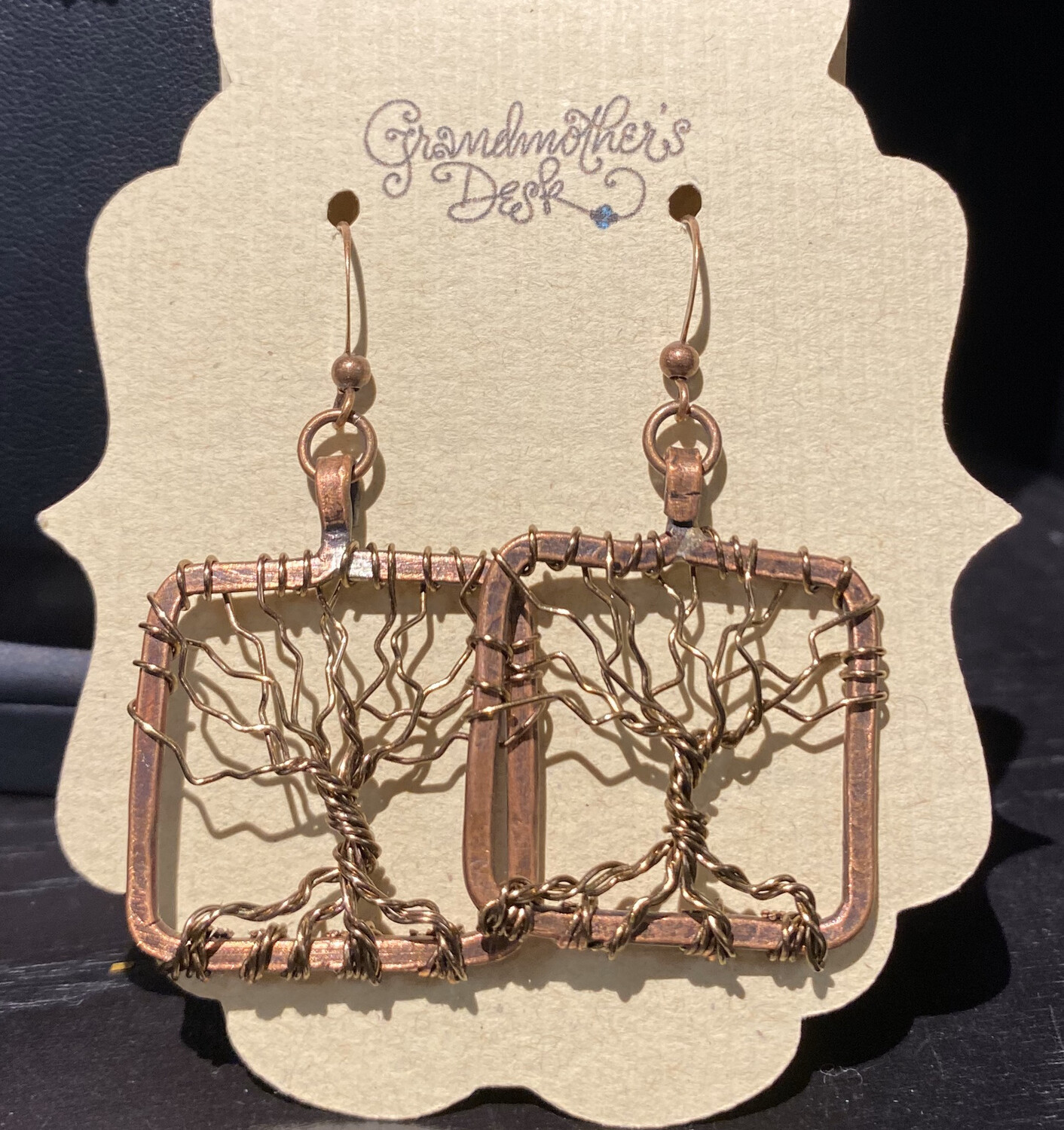Grandmothers Desk Drop Copper Earrings Locally Made