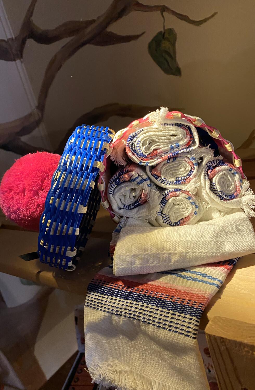 Fair Trade Set Of 6 Picnic Napkins with Hand Made Pom Pom Basket Pink Blue
