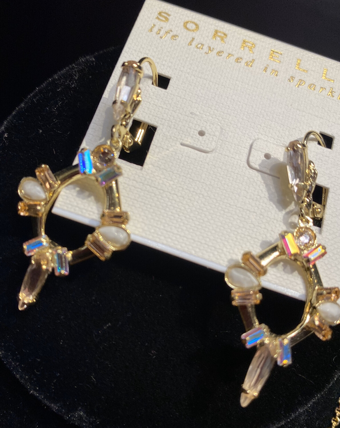 Sorrelli Hanging Crystal Earrings Matching Necklace Available