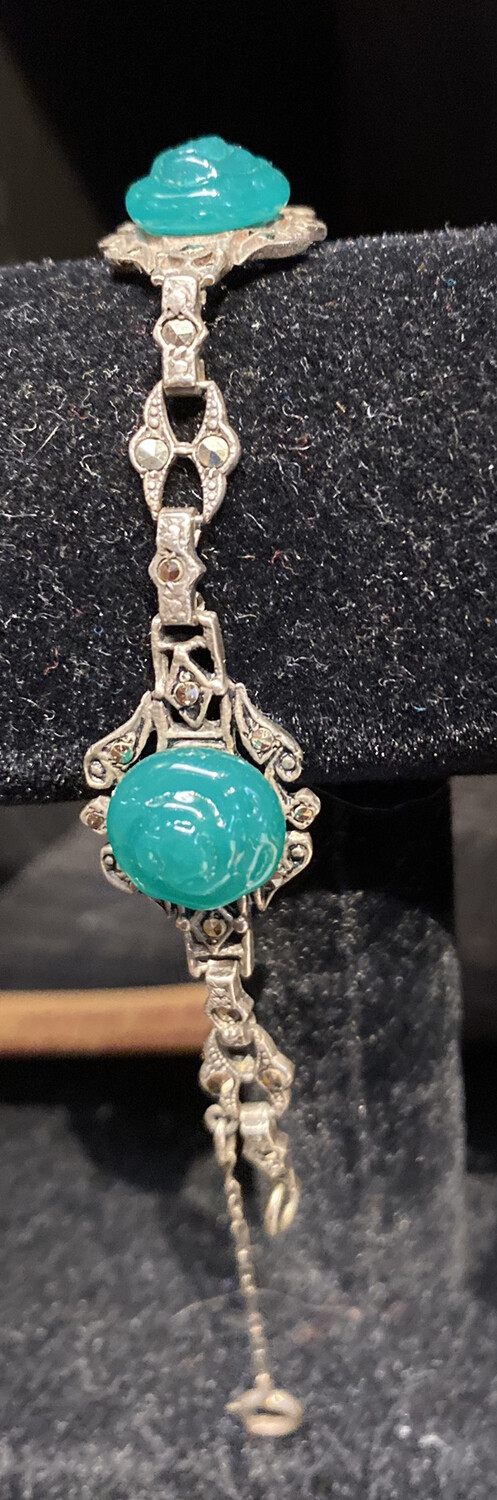 DK Beautiful Vintage Deco Sterling And Marcasite And Carved Chrysoprase Bracelet