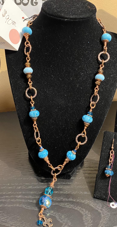 DK Copper Mine Hans Blown Glass Beads Copper Necklace