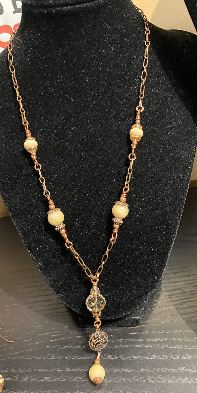 DK Copper Mine Necklace Hand Blown Glass Cream