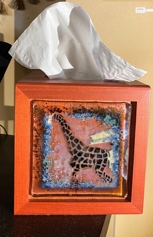 Moss Creek Hand Made Glass Giraffe Tissue Box