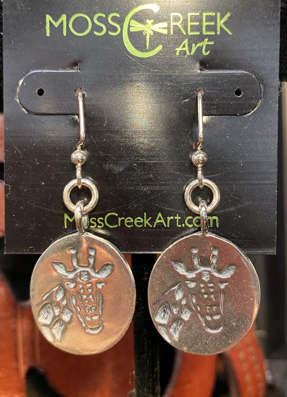 Moss Creek 4 B Giraffe Solid Silver Hook Earrings