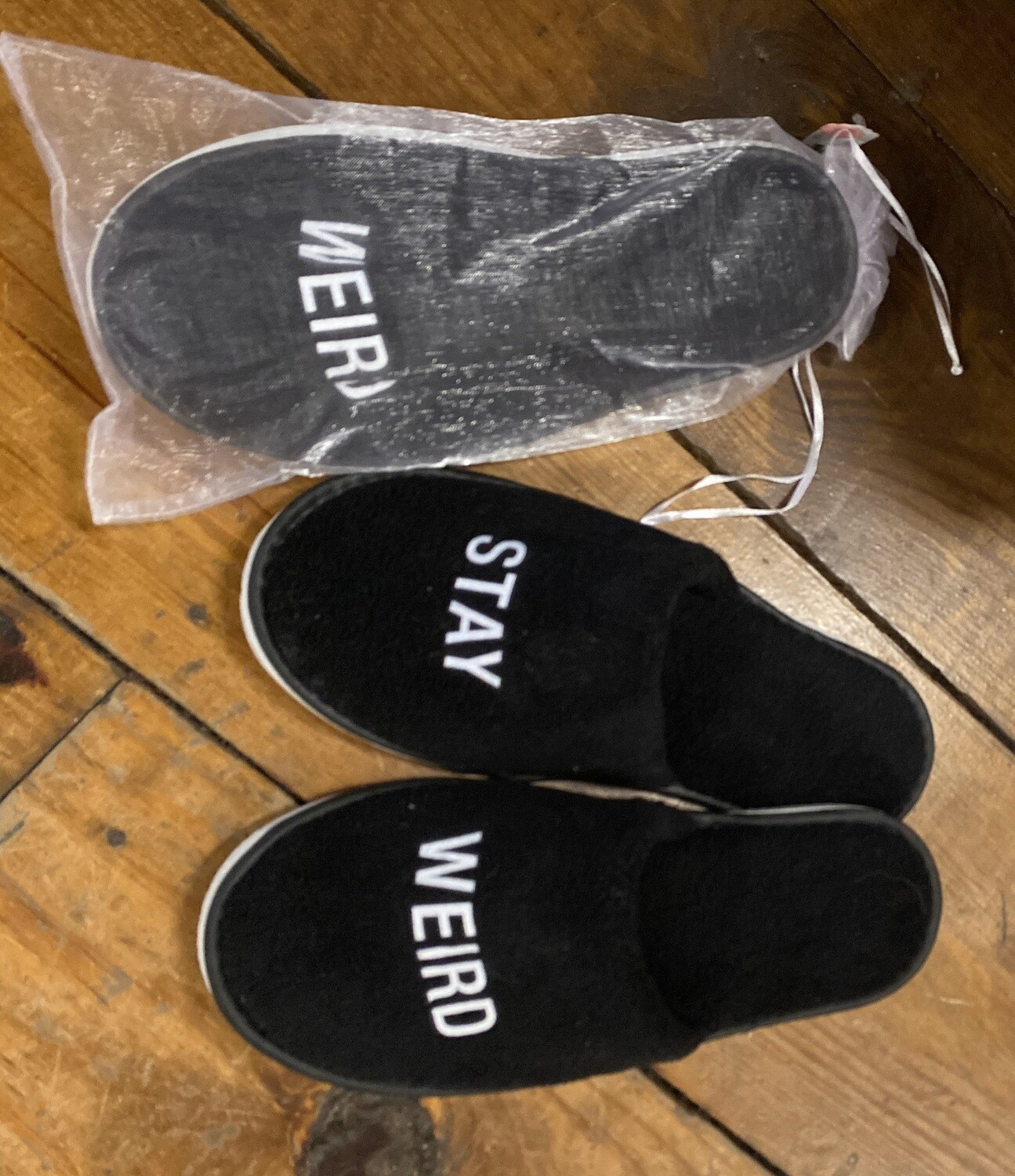 Stay Weird Comfy Slippers W Rubber Bottom O/S