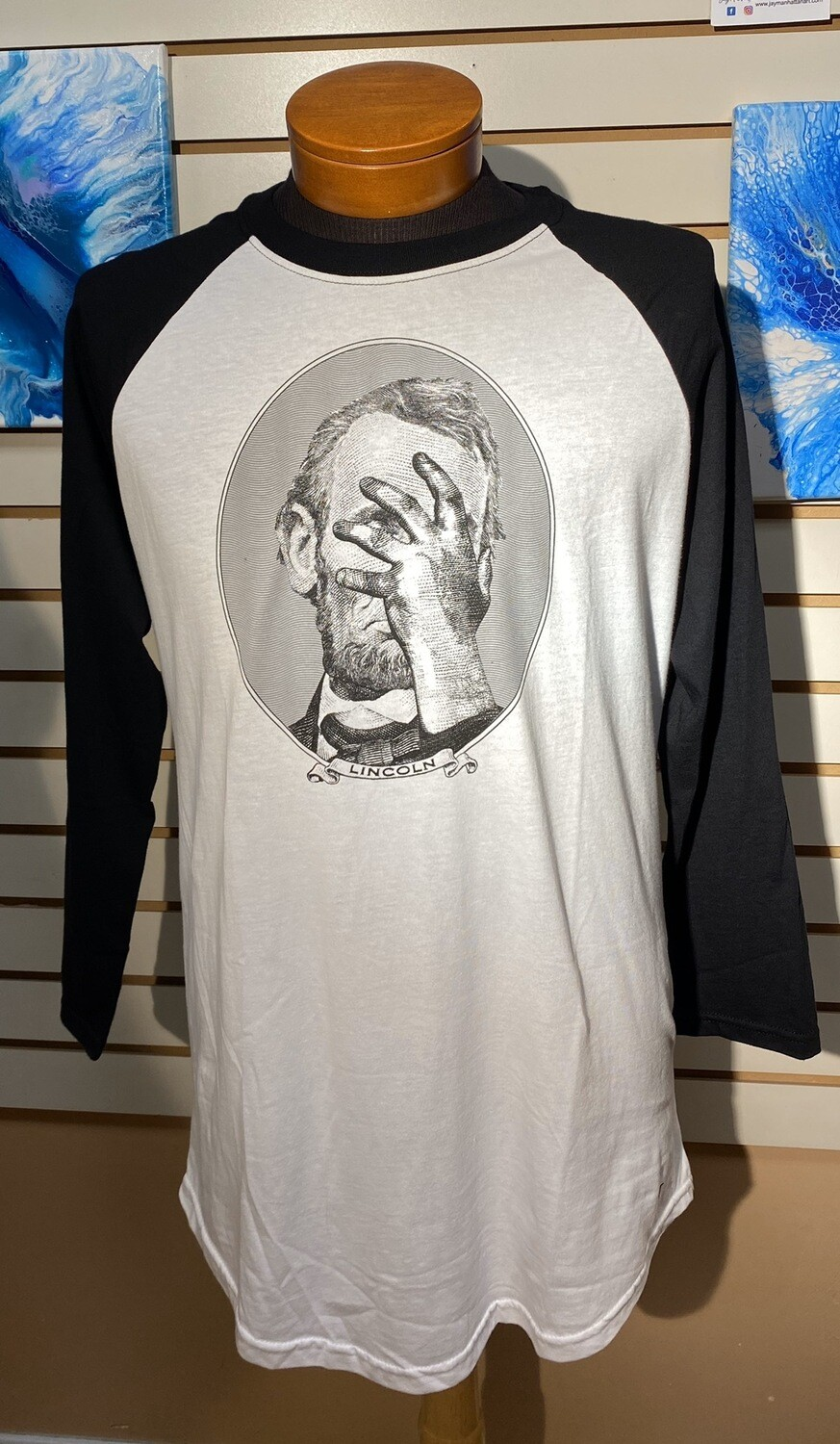 Lincoln Hand Over Face T Size L Pictured