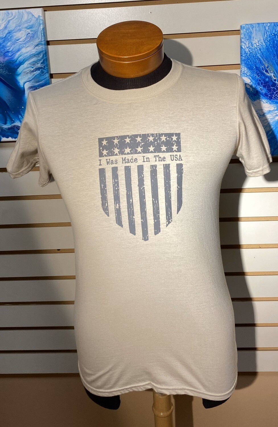 I Was Made In The USA Tan T Size S