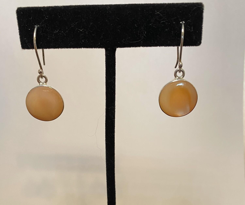 Sterling Silver Abalone Blush Drop Sphere Earrings
