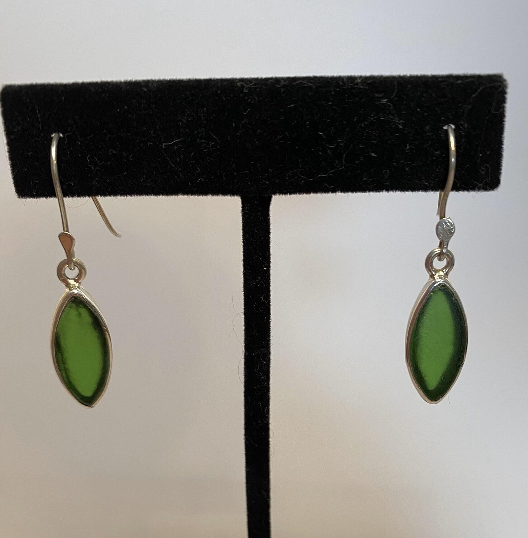 Sterling Silver Sea Glass Drop Oblong Earring