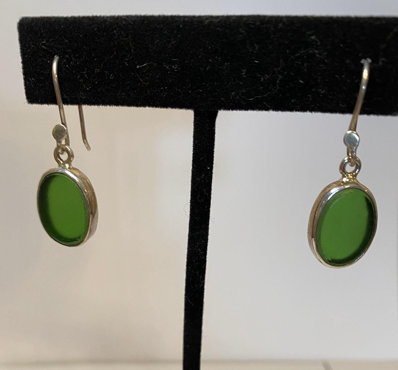 Sterling Silver Sea Glass Emerald Oval Earrings