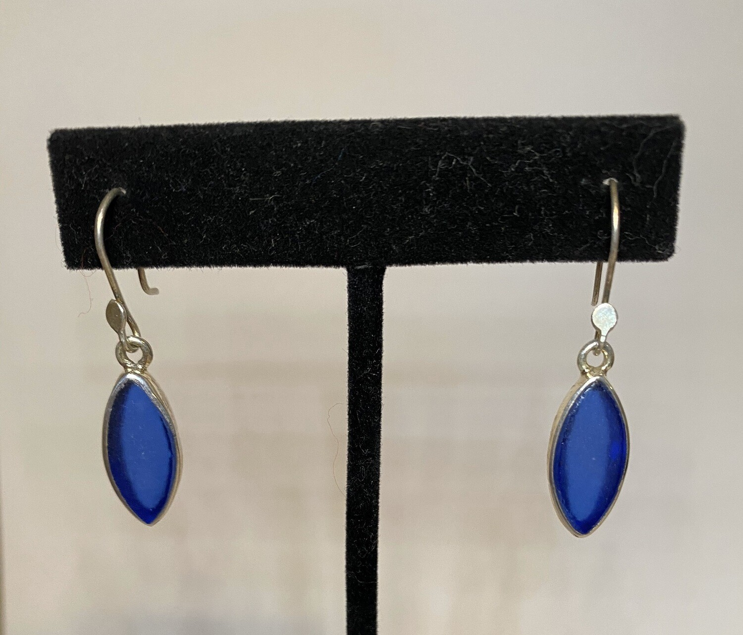 Sterling Silver Sea Glass Royal Blue Earring