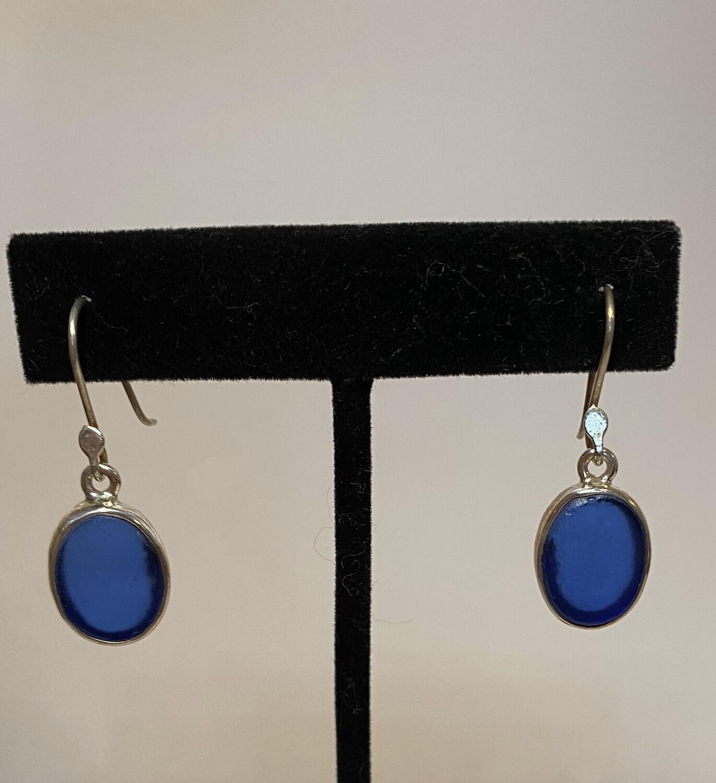 Sterling Sea Silver Glass Royal Blue Oval Earring