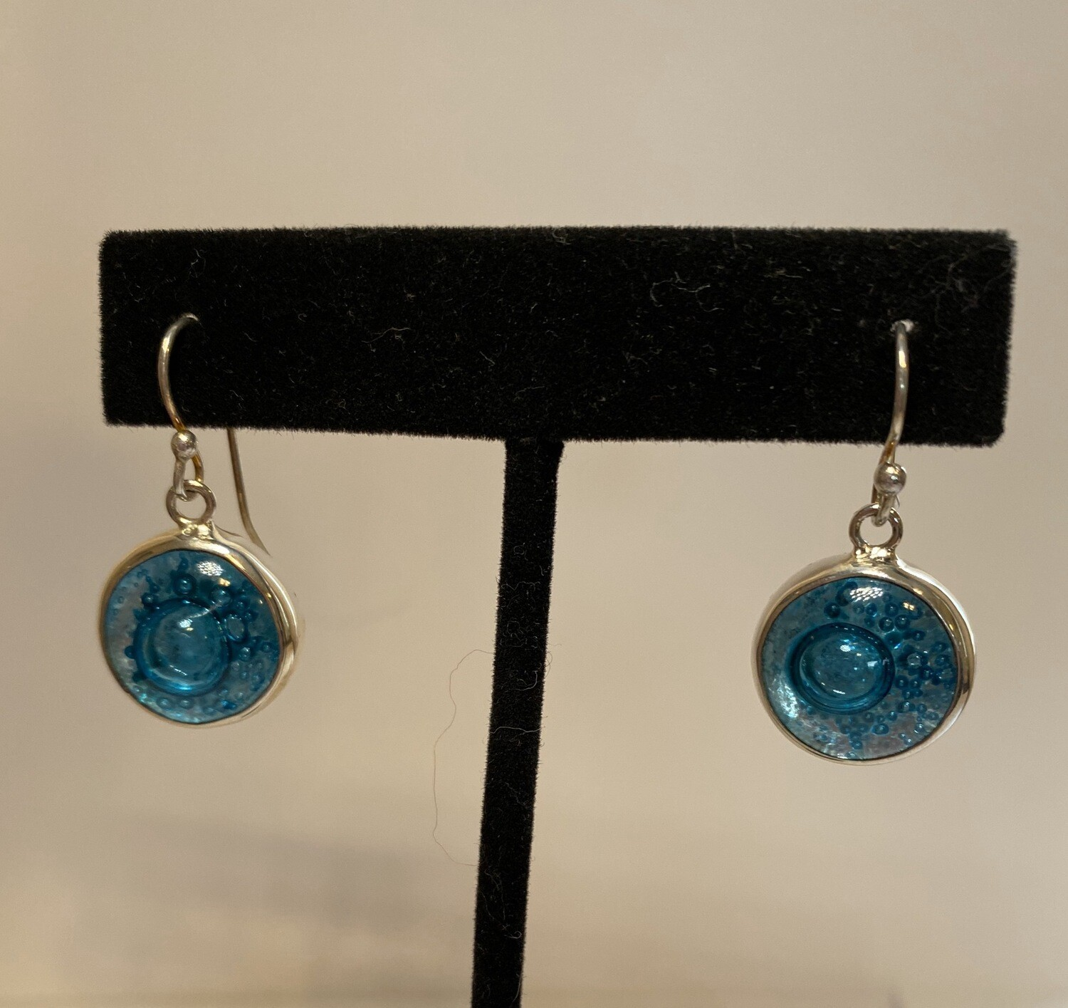 Sterling Silver Blown Glass Blue With Turquoise Earring
