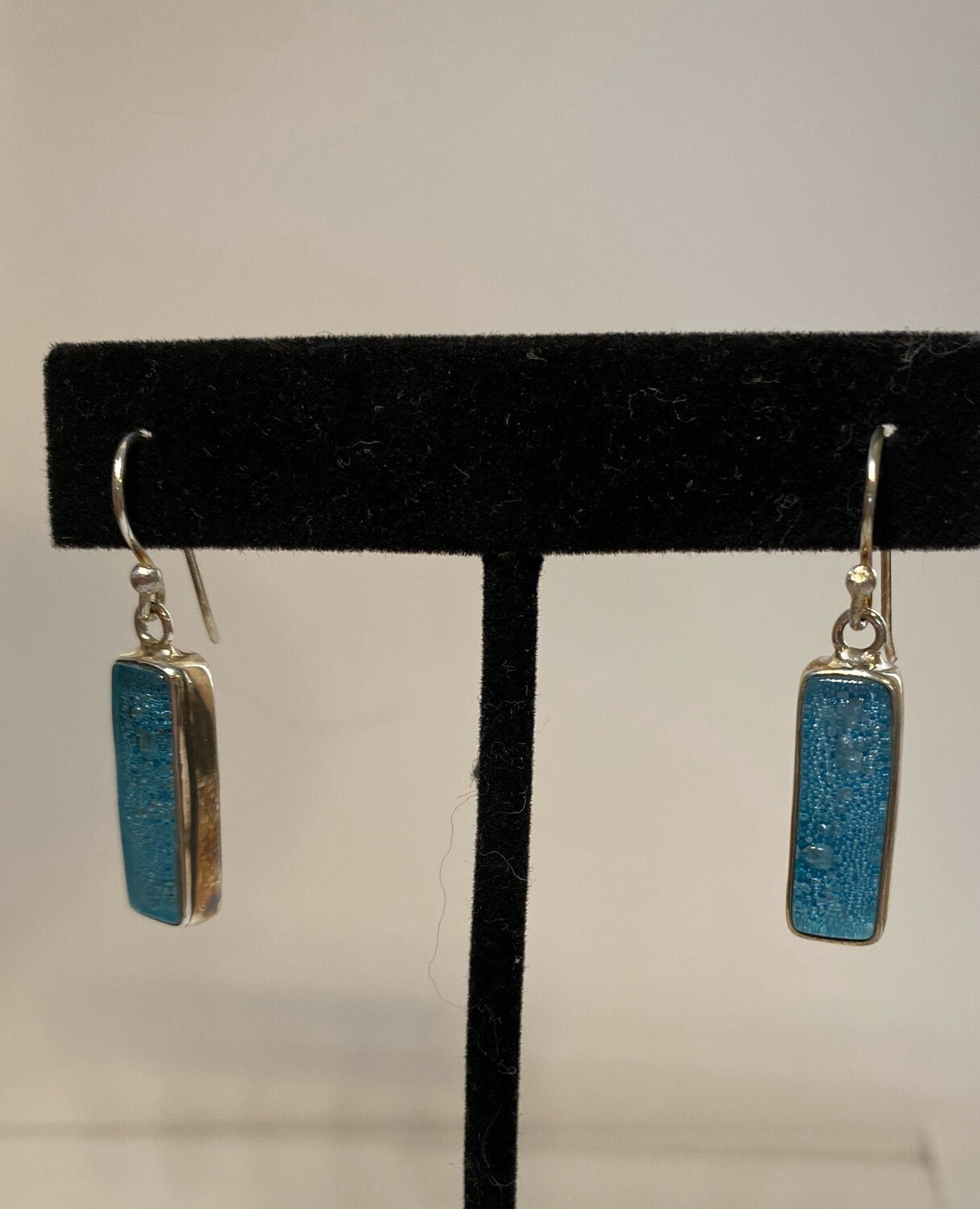 Sterling Silver Blown Glass Blue Turquoise Earring
