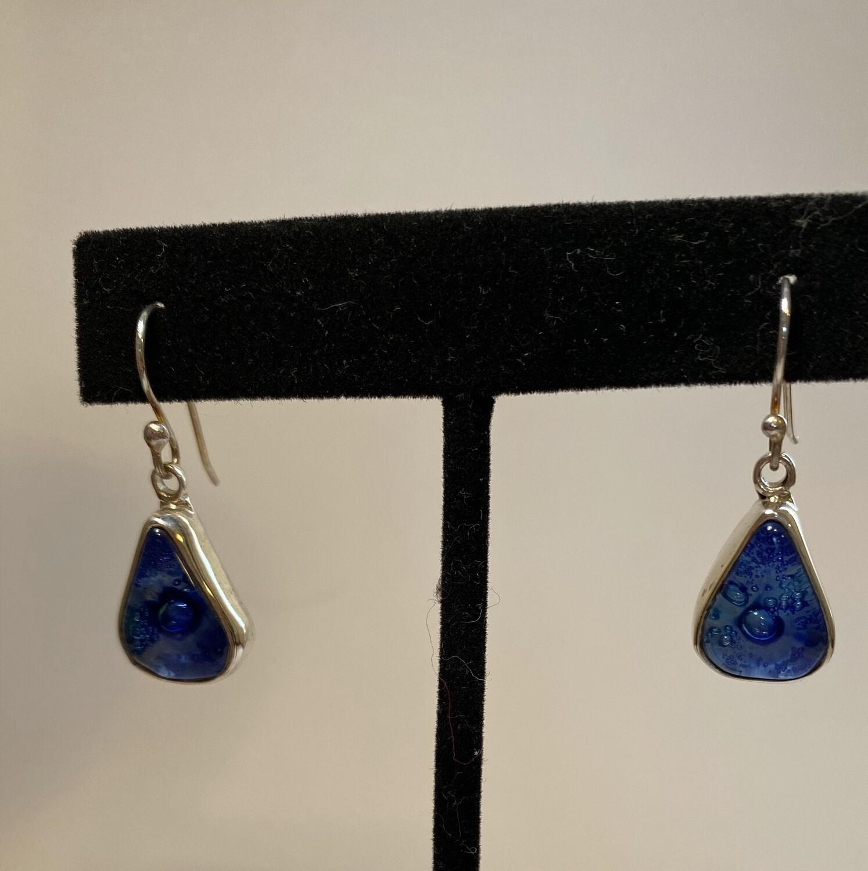 Sterling Silver Blown Glass Deep Ocean Blue
