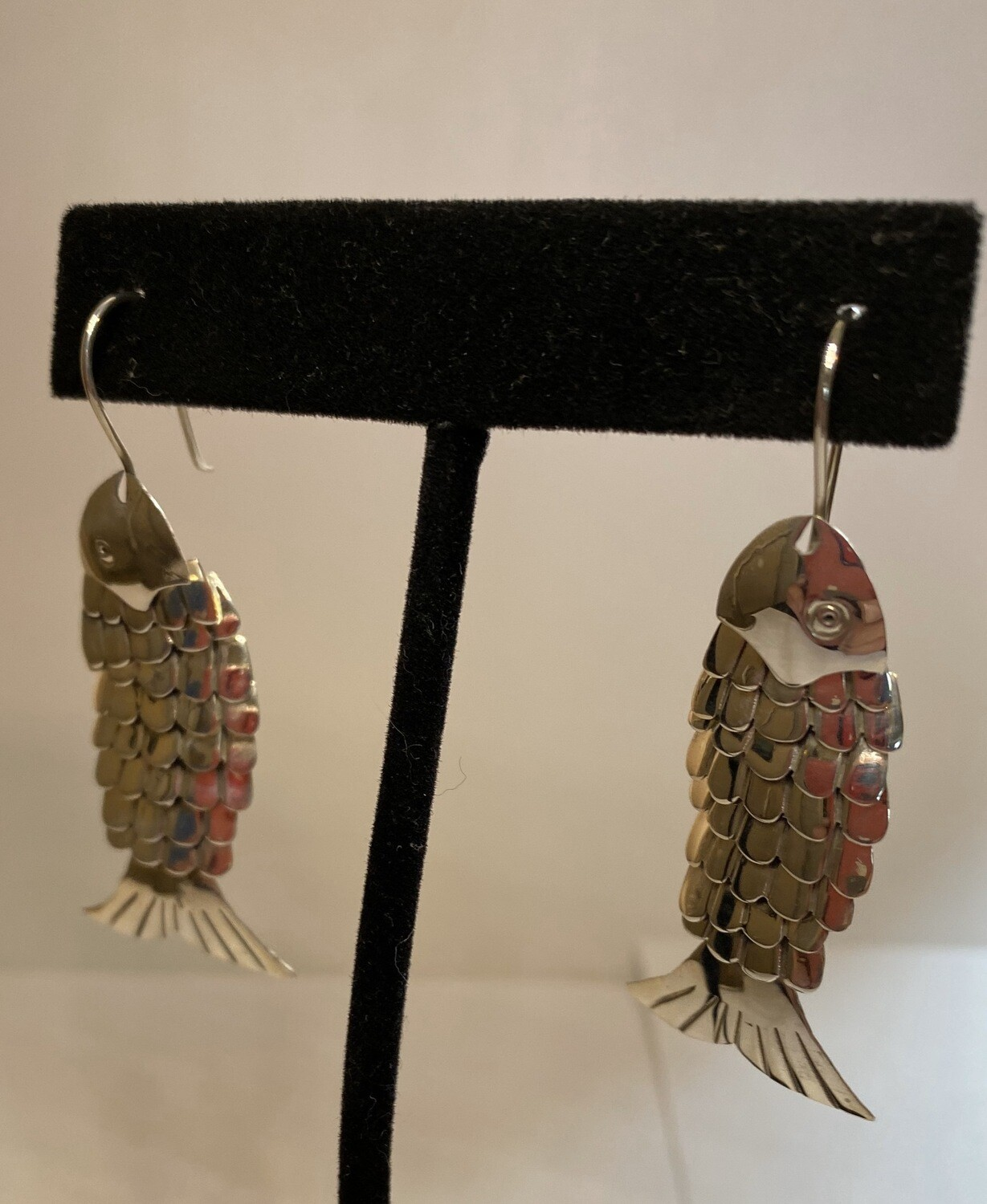 Sterling Silver Scaled Fish Earring