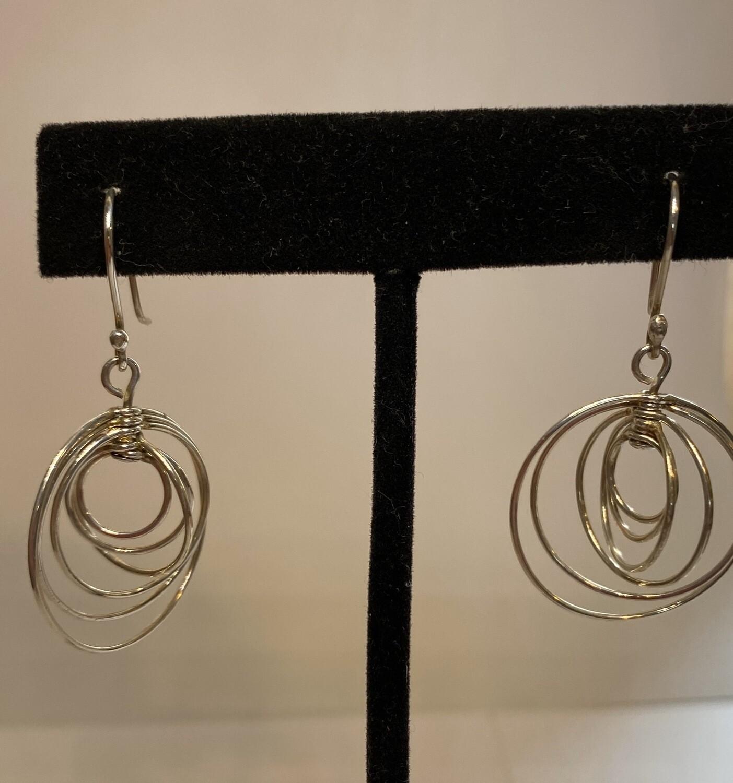 Sterling Silver Multiple Rings Earring
