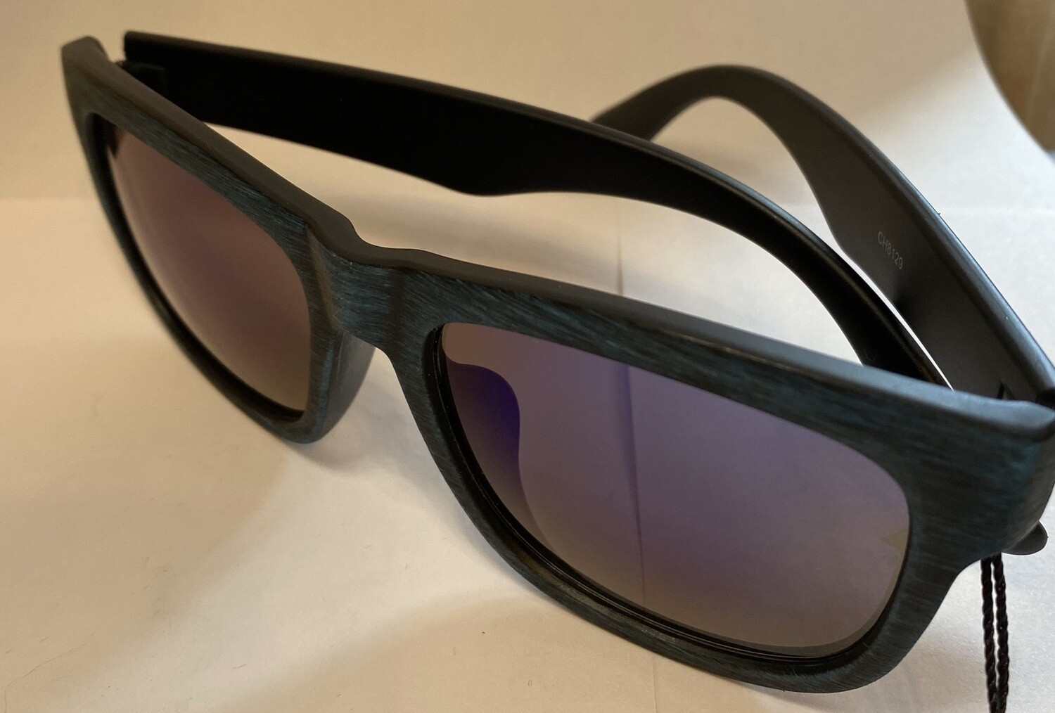 Sunglasses Reflective Blue Wood Finish