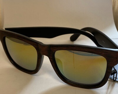 Sunglasses Reflective Wood Finish Red