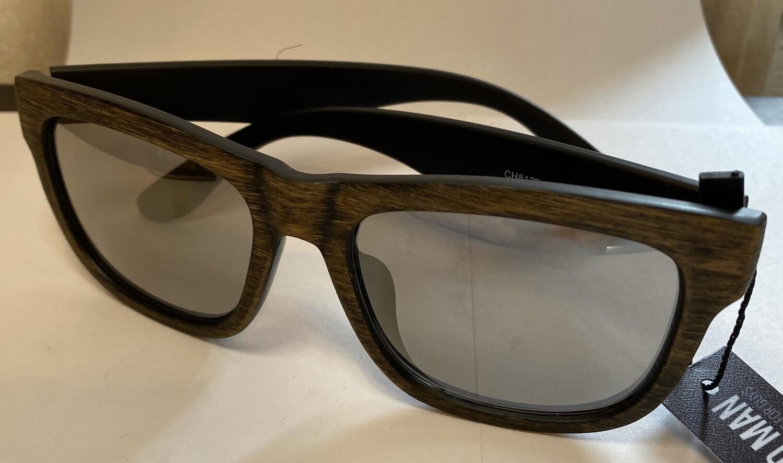 Sunglasses Reflective Tan Wood Finish