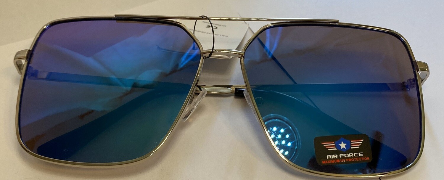 Sunglasses Air Force Inspired Blue Reflection Max UV Protection