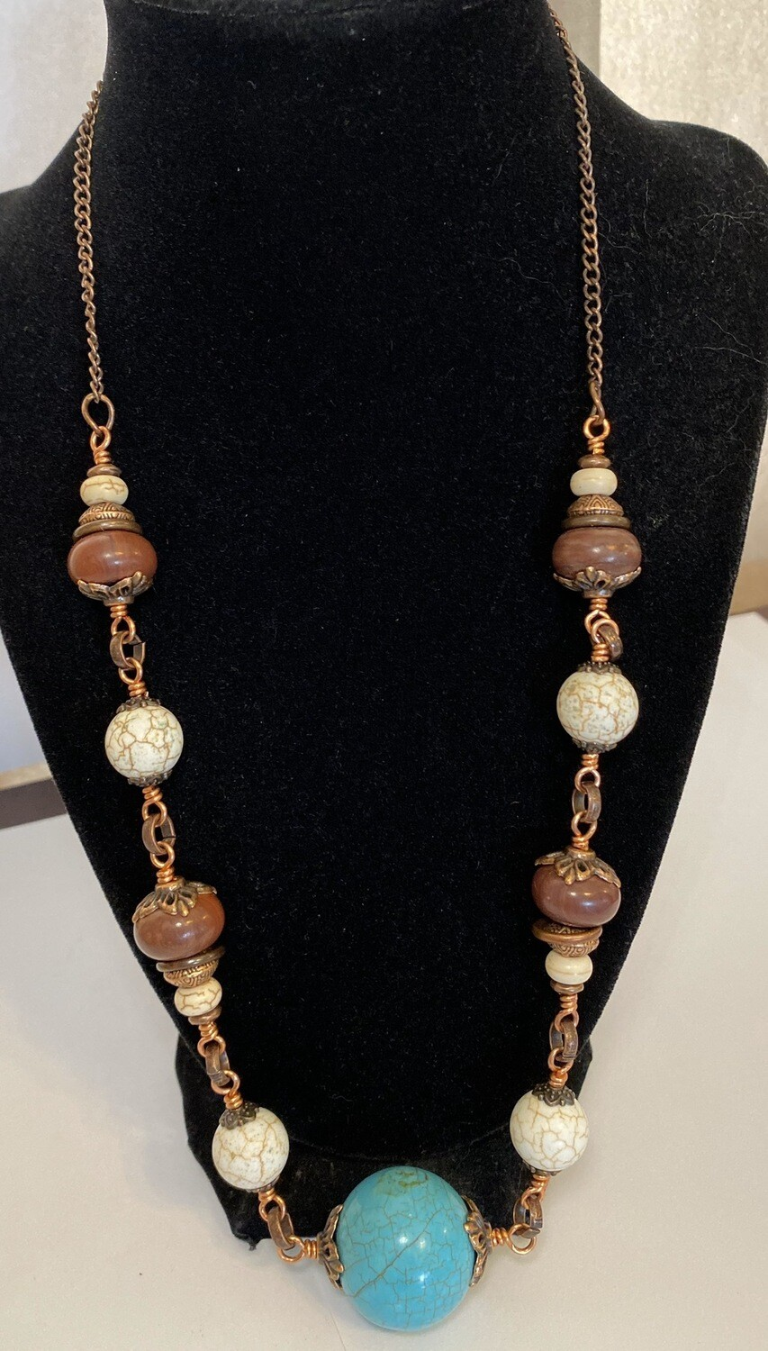 DK Elements White Howlite Tourqouise Sphere, Jasper And Copper Necklace Local, Handmade
