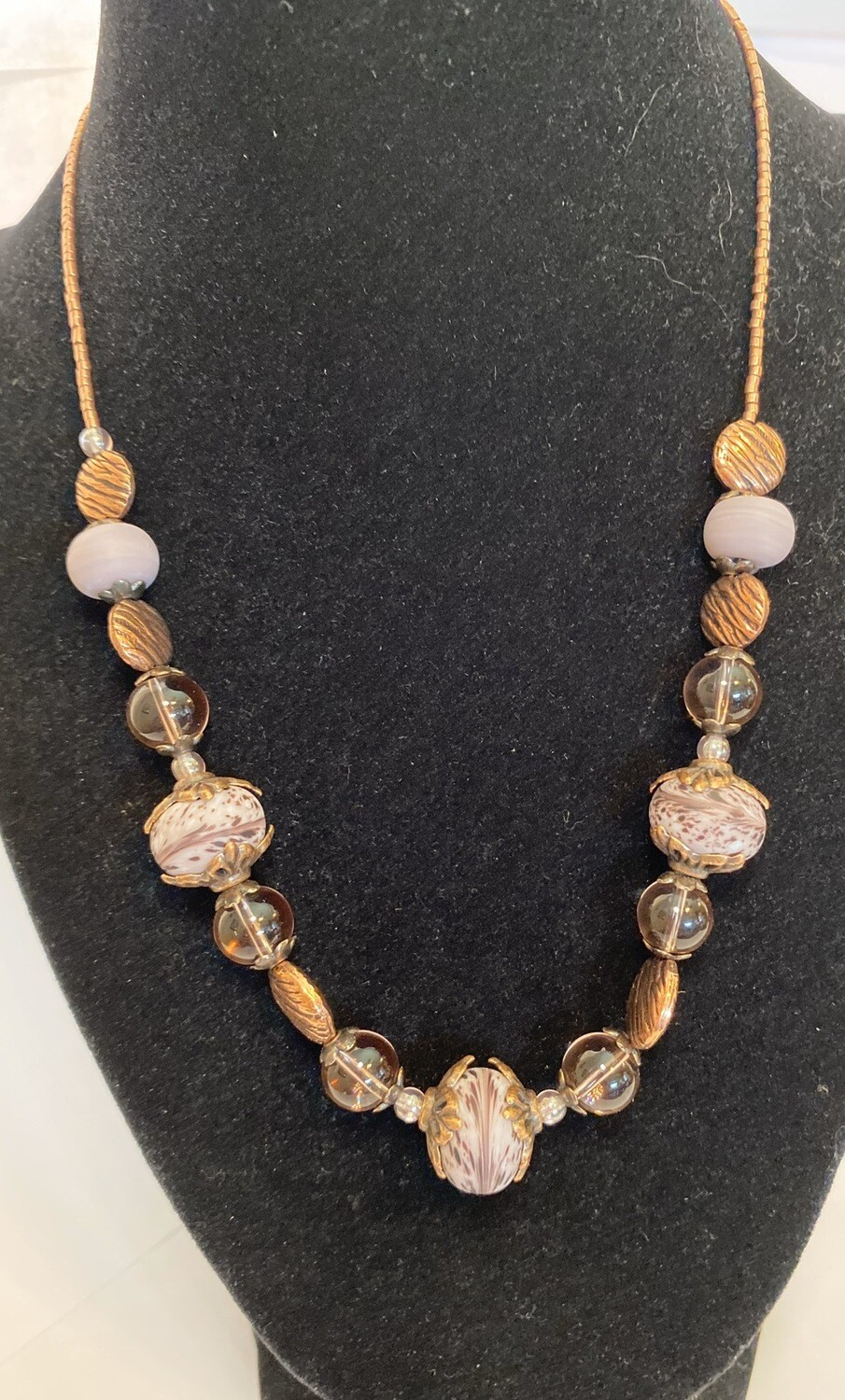DK Mauve Hand Blown Glass Beads And Copper
