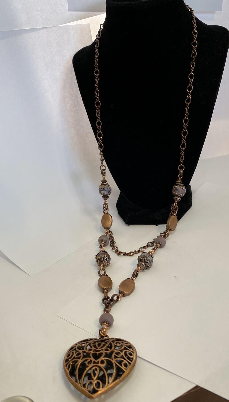 DK Long Mauve Copper Heart Hand Blown Glass Beads