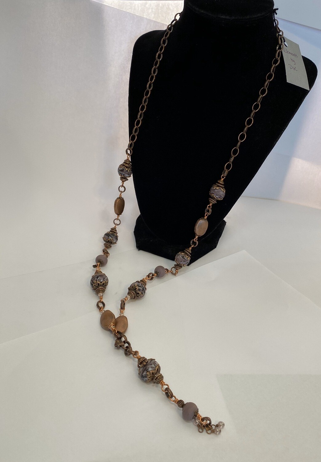 DK Mauve Hand Blown Glass Beads And Copper Locally Made