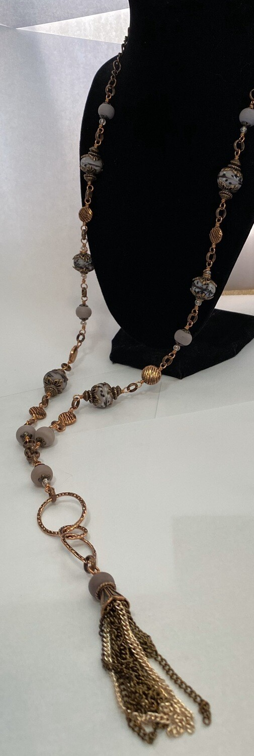 DK Mauve Hans Blown Glass Copper Circle Tassel Necklace Locally Made