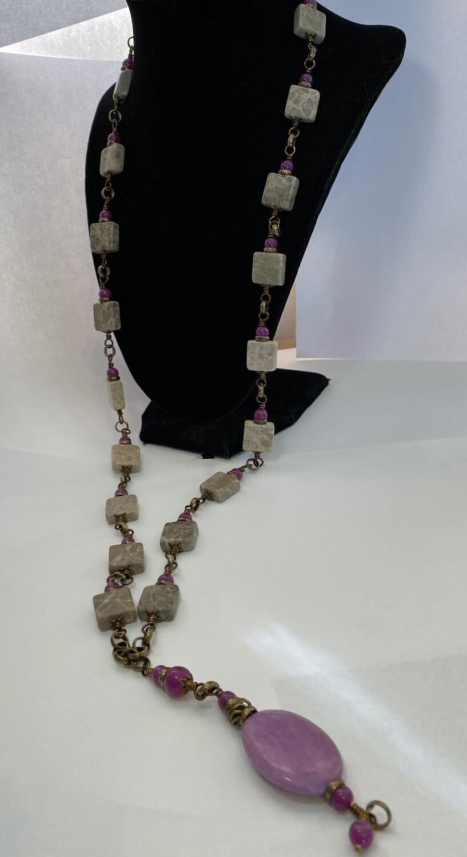DK Gray Jasper Purple Glass Purple Stone Bronze