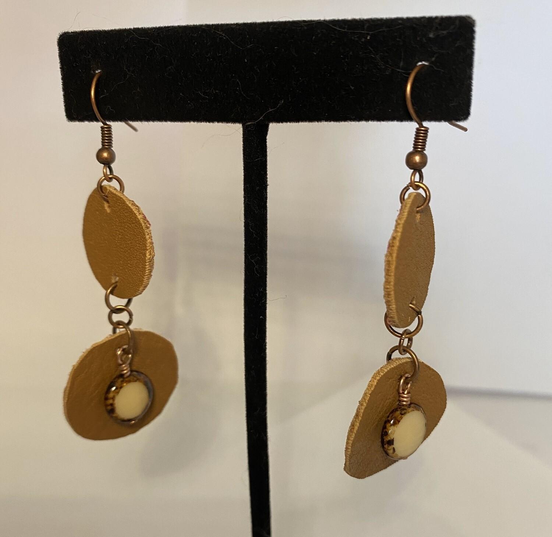DK Leather Copper Stone Earrings Local Handmade
