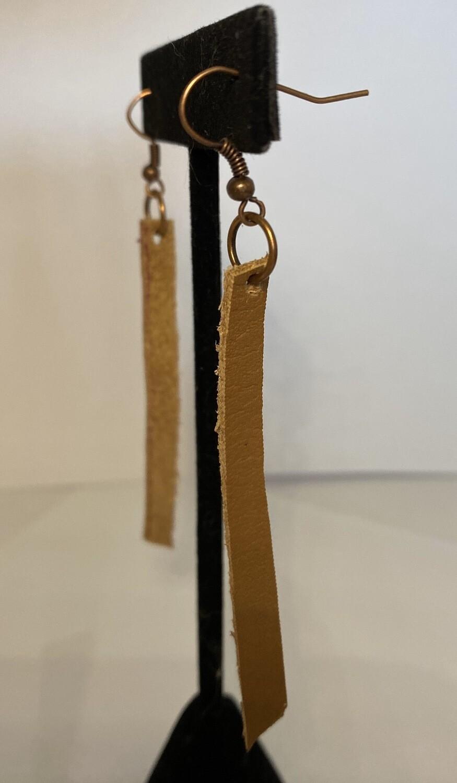 """DK Leather Earring Tan 3"""" Long"""