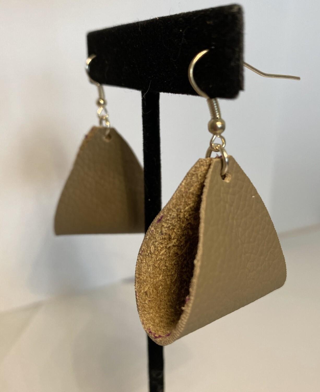 "DK Leather Stirrup Earring Light Grey 3"" Length"