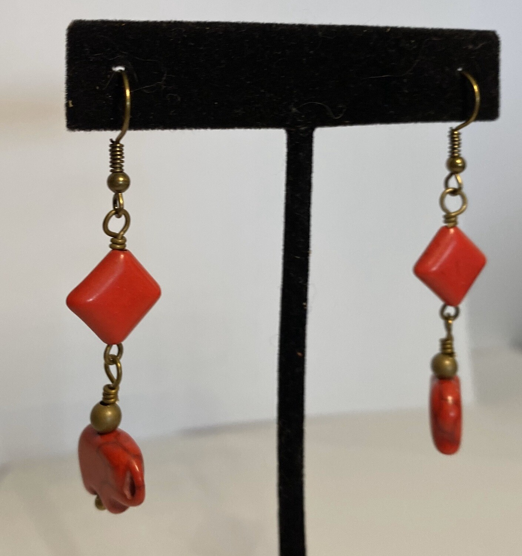 DK Red Coral Drop Earring